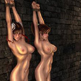 Hot bdsm porn cartoon with lots of humiliation of gals in dog-leashes and chains