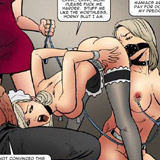 Hot blonde with a collar and shinju gets tortured with electric nipple clamps and her face cummed in awesome bondage comics